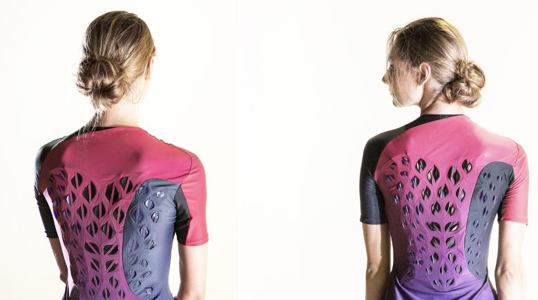 Images of garment prototype before exercise with flat ventilation flaps and after exercise with curved ventilation flaps (Image by Hannah Cohen)