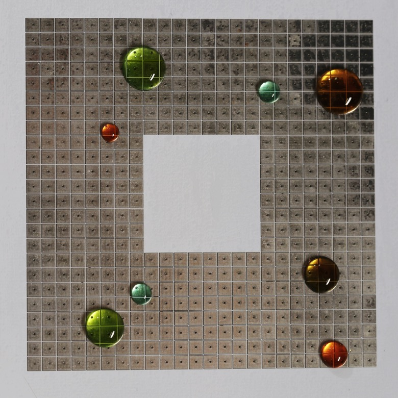 Bird's eye view: Birs-eye view of the programmable chip with various droplets