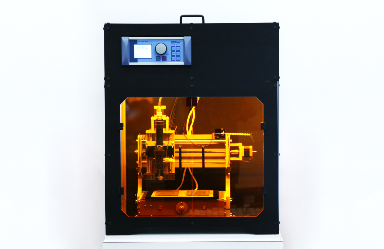 Bioprinter customized specifically for Natto cell printing and bio-hybrid film production. Created by MIT Media Lab.